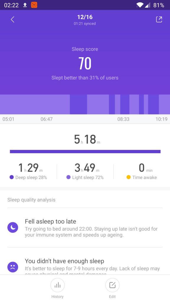 monitorizarea calitatii somnului mi fit cu mi band 4